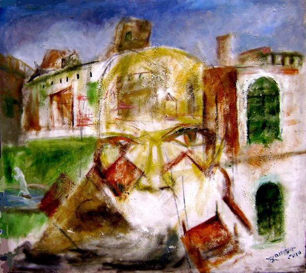old city-1 Paisaje Lienzo Óleo