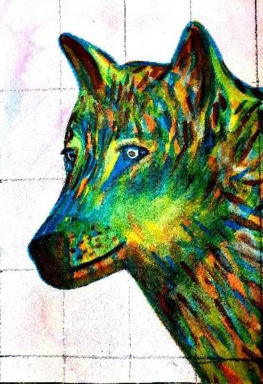 Lobo Animales Acuarela Cartulina