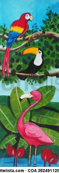 Animales en la jungla Paisaje Acrílico Tabla