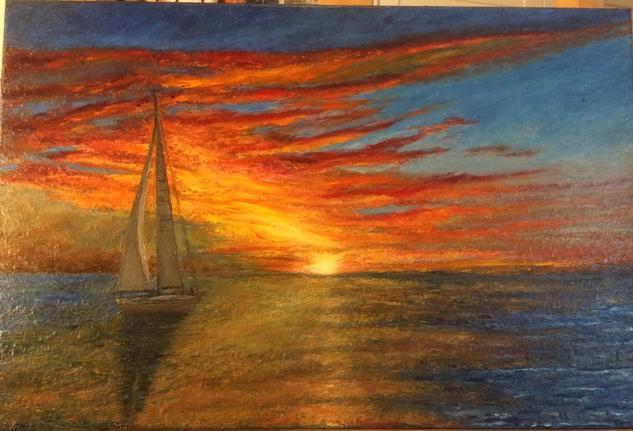 Anochece navegando Marina Óleo Lienzo