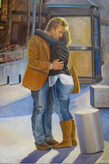 Plaza Santa Ana Oil Panel Figure Painting