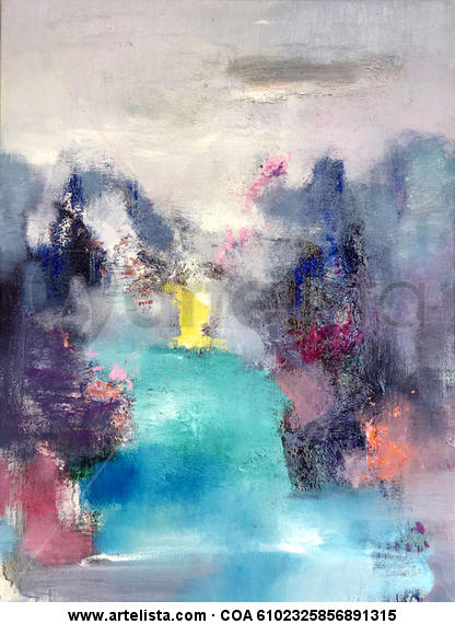 Abstract of river and mountains 306 Lienzo Óleo Otros