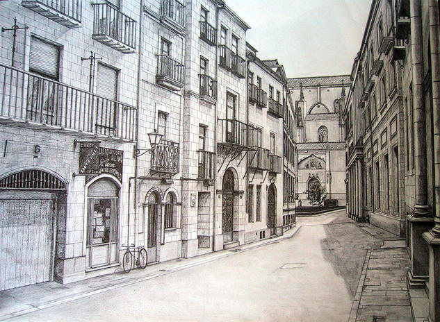 Calle de Salamanca Papel Grafito Paisaje