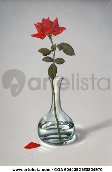 Jarrón de cristal con rosa roja (PY-JR07-R2) Bodegones Media Mixta Lienzo
