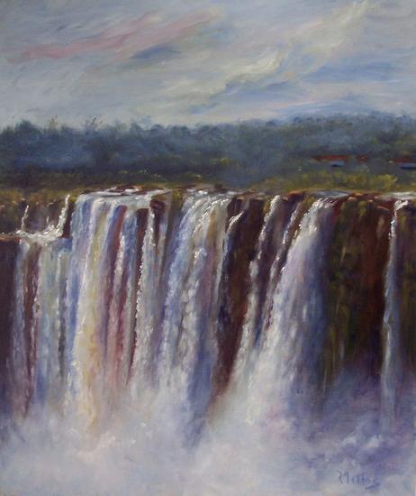Cataratas del Iguazú 3 Tabla Óleo Paisaje