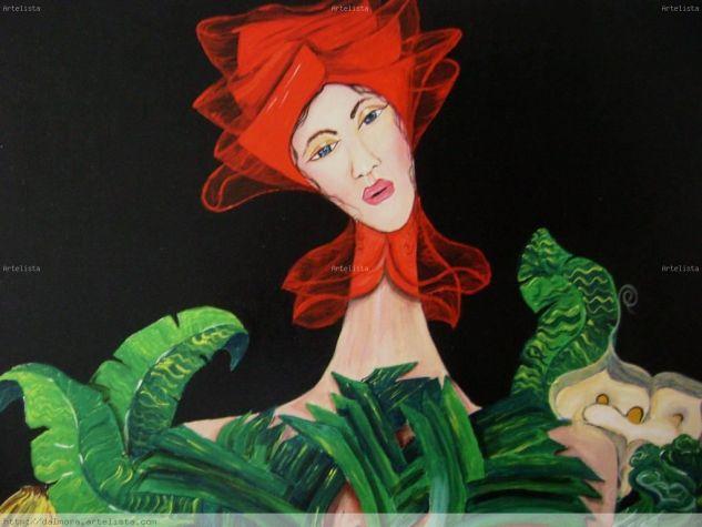 L mujer del turbante rojo Acrílico Lienzo Figura