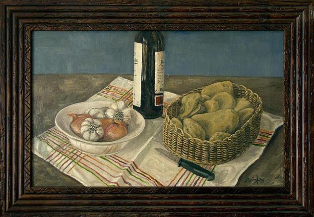 Bodegón con patatas, ajos y cebollas Tabla Óleo Bodegones