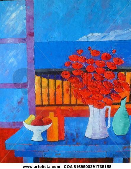 Fenêtre sur Méditerranée Canvas Oil Still Life Paintings
