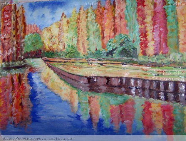 Otoño en el rio Acrílico Lienzo Paisaje