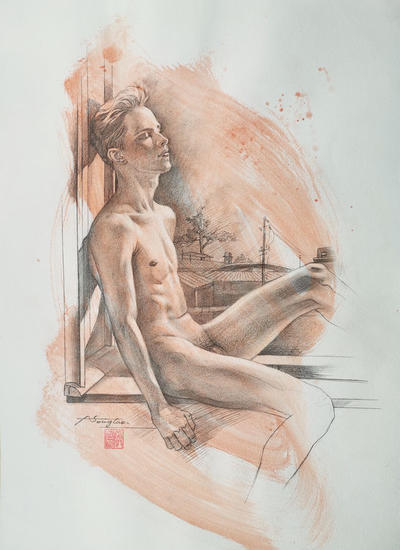 Drawing- By the windon#21214 Carboncillo