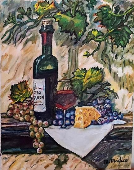 Bodegon de frutas y botella vino Bodegones Óleo Tela