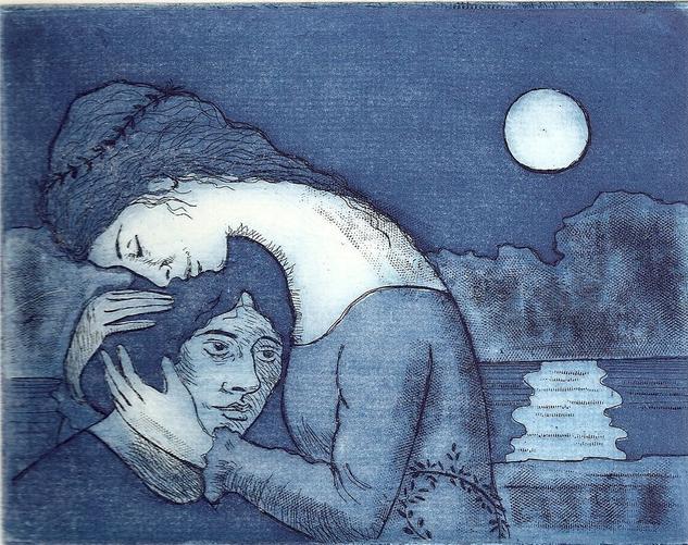 tristán e Isolda Aguatinta