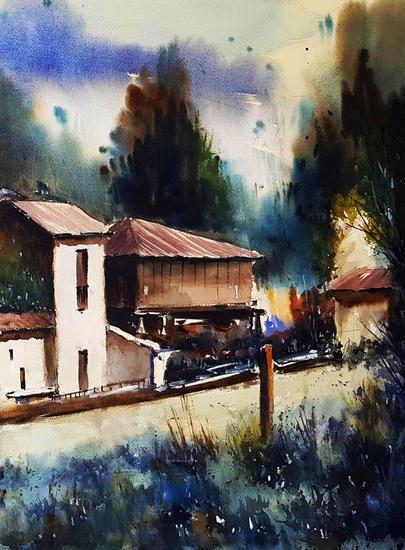sariego rural, asturias Landscaping Watercolour Paper