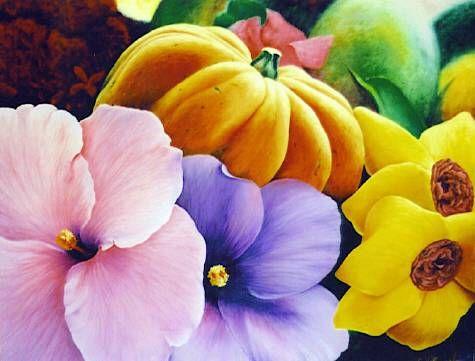 colores Lienzo Óleo Floral