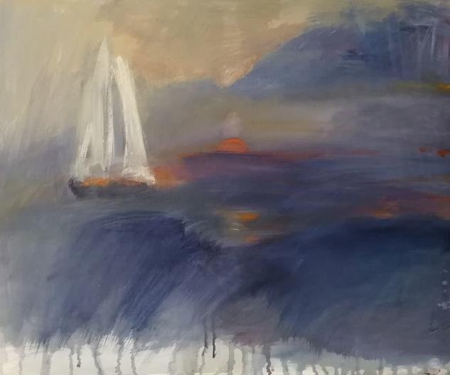 Atardecer de verano Marine Painting Acrylic Canvas
