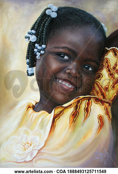 Niña de África 84 Retrato Óleo Lienzo