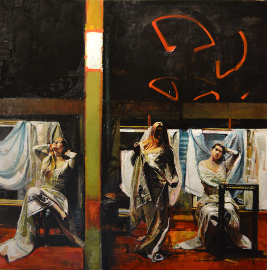 Ellas Tres. Figure Painting Panel Oil