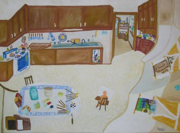 La cocina de Juanita Oil Canvas Others