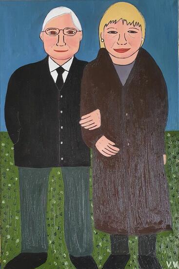 Mis abuelos maternos Retrato Óleo Lienzo