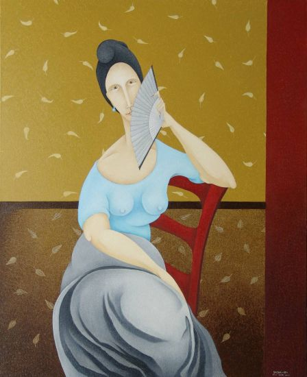 Woman in Red Chair With Grey Fan  2009
