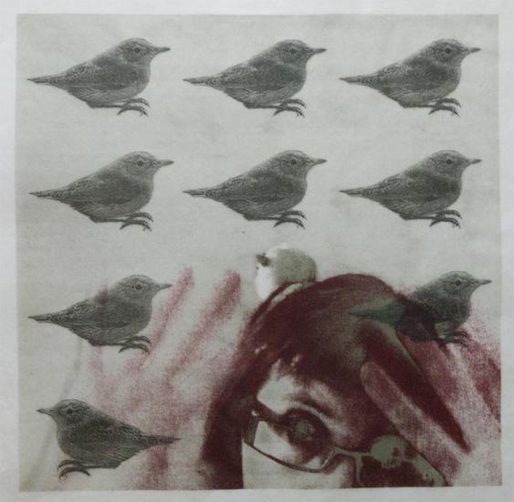 Aún con pájaros en la cabeza Litografía