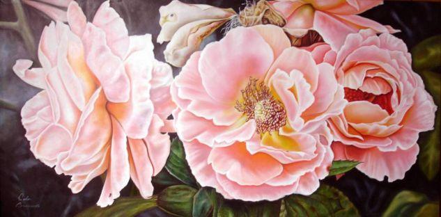 cuadro de flores Rosas Óleo Lienzo Floral