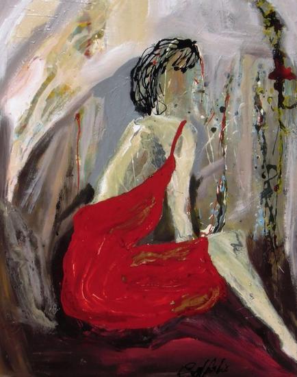 Esa mujer con vestido rojo vendida Tela Media Mixta Figura