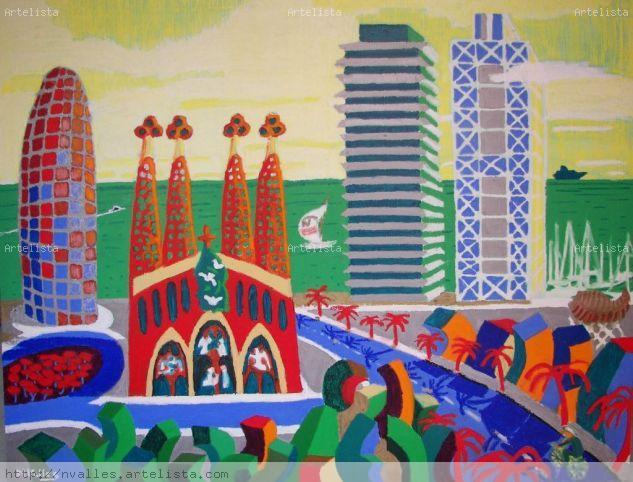 Barcelona sostenible Canvas Oil Marine Painting