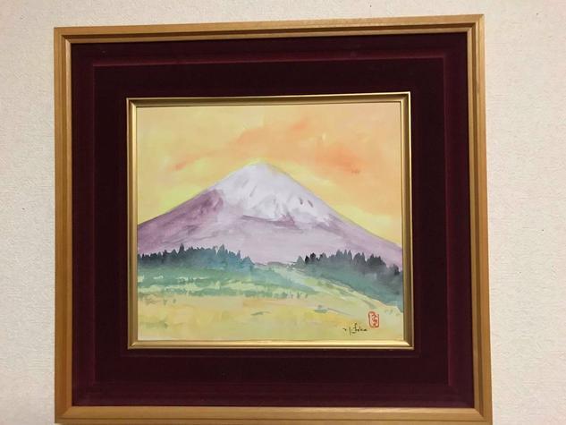 Fuji entardecer Cartulina Acuarela Paisaje