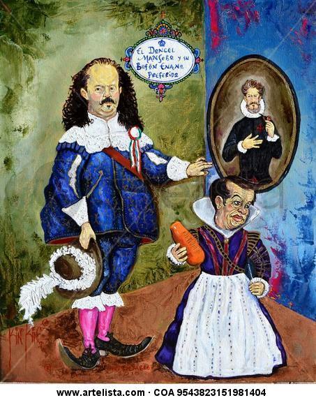 El Doncel ManSebo y su Bufón Enano Preferido Lienzo Óleo Retrato