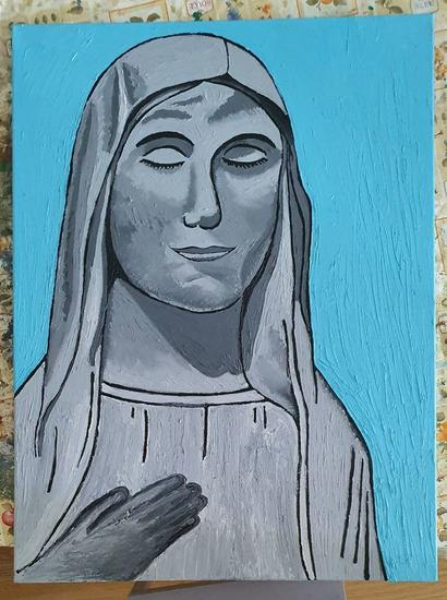 Estatua de la Virgen María Retrato Óleo Lienzo