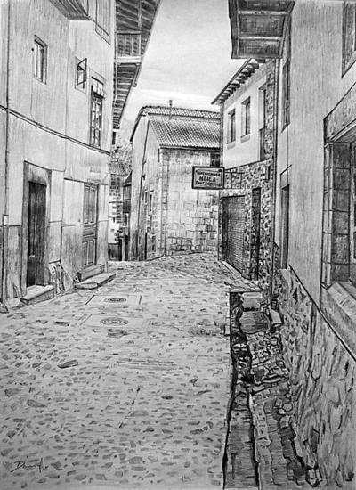 Calle de Candelario Papel Grafito Paisaje