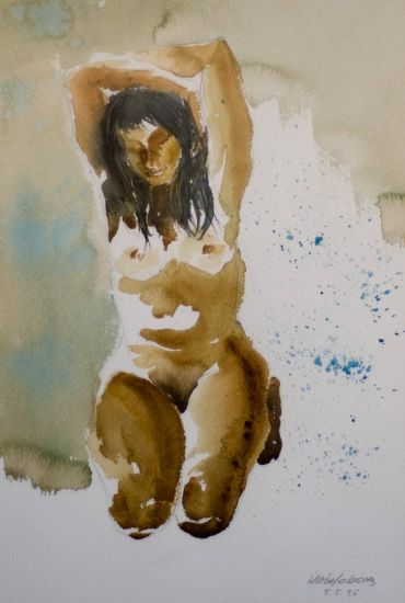 Chantal Nude Paintings Paper Watercolour