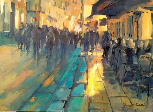 PARIS STREET AT MIDNIGHT Lienzo Óleo Paisaje