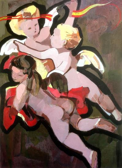 Ángeles custodios Figure Painting Acrylic Panel