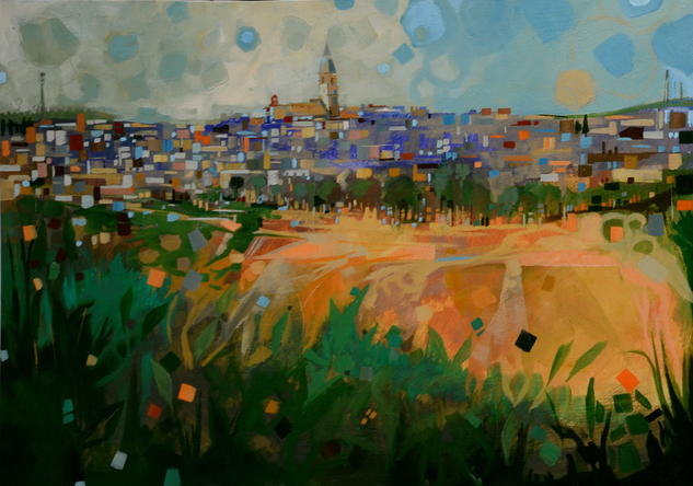 Panorámica de Arjonilla Paisaje Media Mixta Tabla