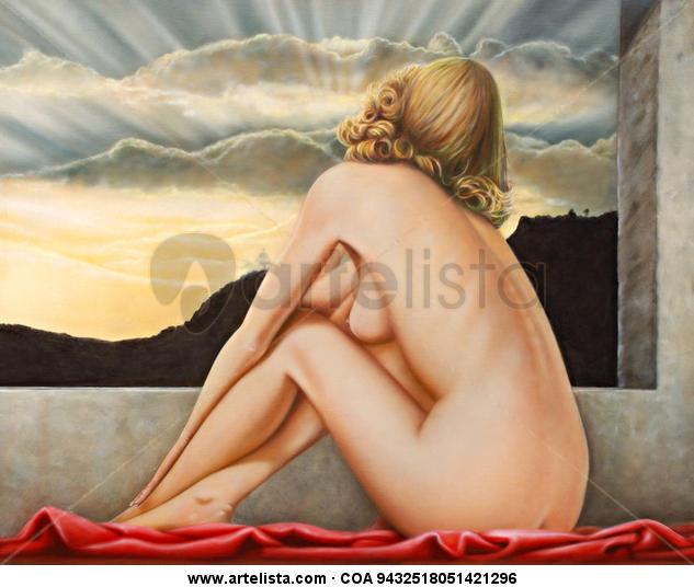 Contemplación Lienzo Óleo Desnudos