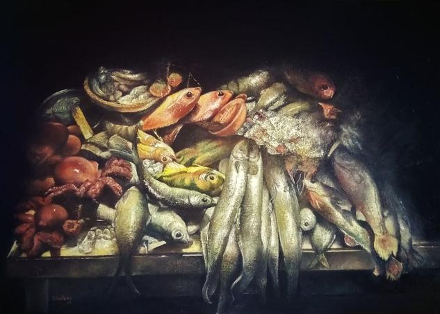 Fish market Lienzo Óleo Bodegones