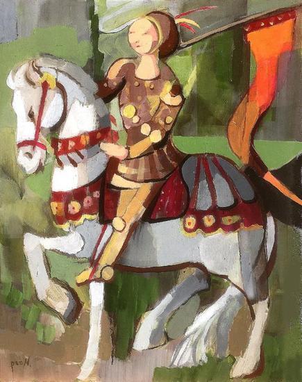 La doncella de Orleans Figure Painting Acrylic Panel