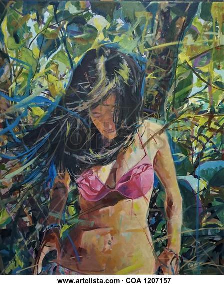 El bikini rosa Figura Óleo Lienzo