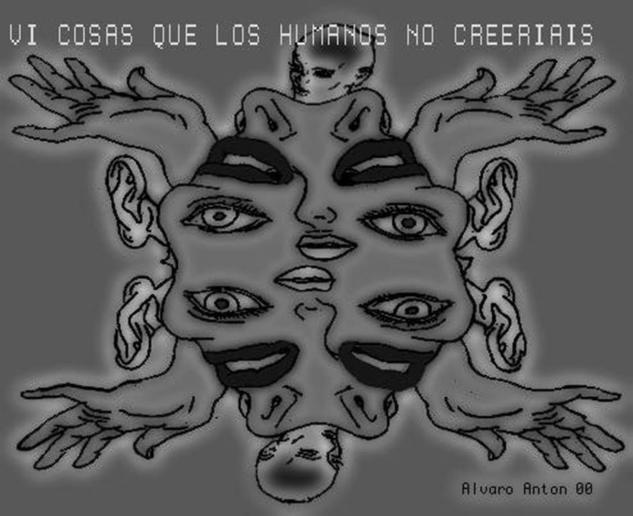Alien Cartulina Grafito Paisaje