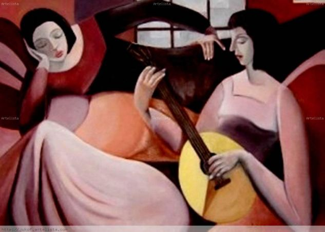 Recreación de una bellísima obra del Maestro Armando Barrios Óleo Lienzo Figura