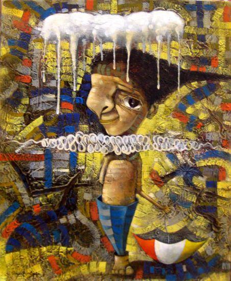 American boy Óleo Lienzo Figura