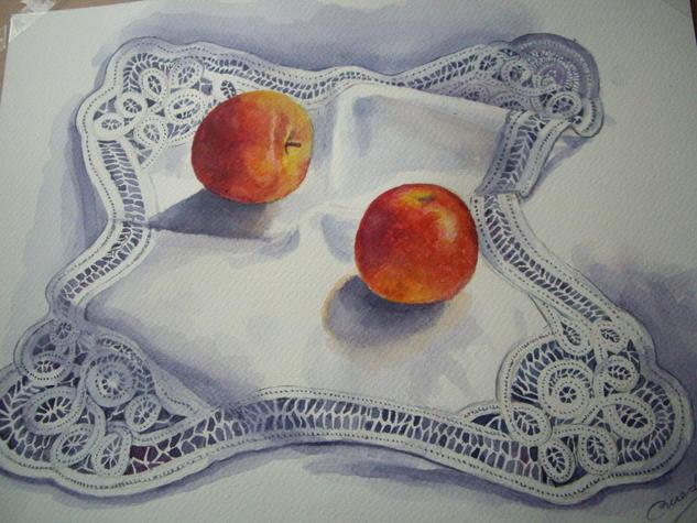 manzanas Papel Acuarela Bodegones