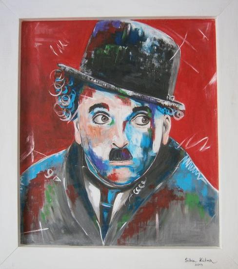 Chaplin Acrílico Retrato Tabla