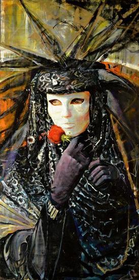 La Mascara y la Rosa Oil Panel Figure Painting