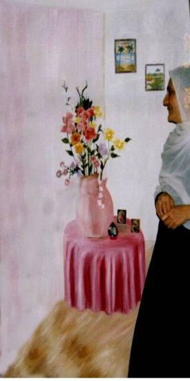 mesa con flores Paisaje Lienzo Óleo