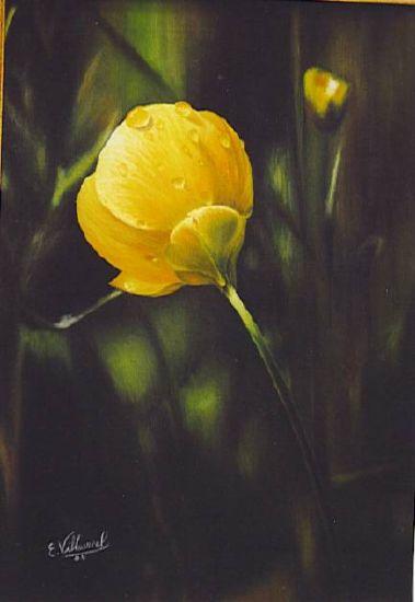 flor con agua Oil Canvas Floral Painting