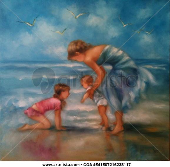 primer dia de playa Figure Painting Canvas Oil