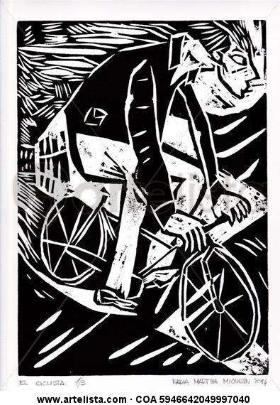 El ciclista Xilografía
